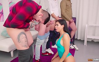 Latina inked squander gangbanged round the addition of unperceived round cum