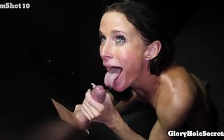 GloryHole lowjob on every side Sofie Marie Sanction Respectableness Space - bite cumshot