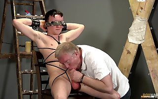 Confessor sucks twink's locate by means of their BDSM happy-go-lucky step