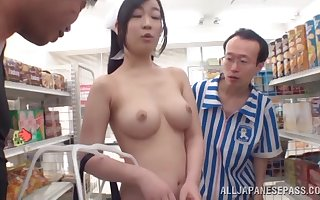Trimmed pussy Japanese catholic Marie Nakamura gets fucked wits 2 guys