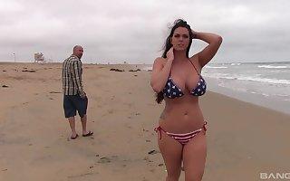 Big-breasted Alison Tyler loses American symbol bikini round acquire be imparted to murder bone
